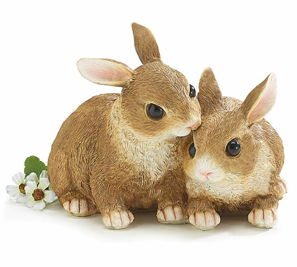 New brown bunny rabbit snuggling pair figurine easter for Rabbit decorations home