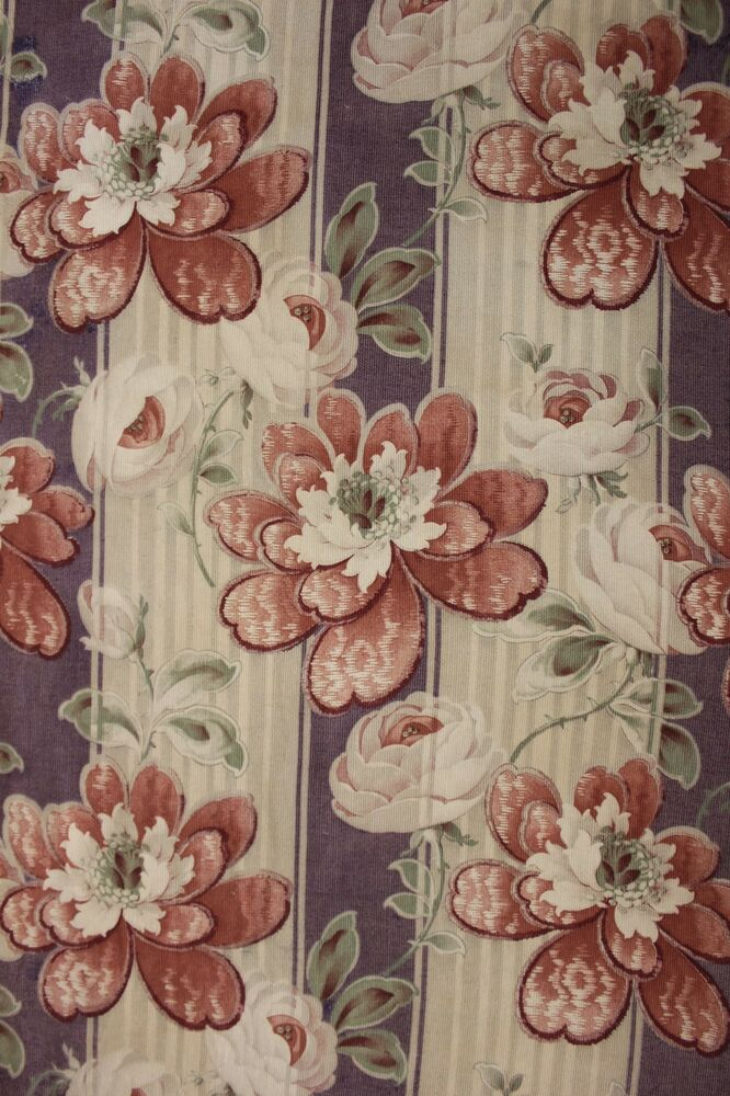 Antique French Art Nouveau Fabric Material Floral Stripe