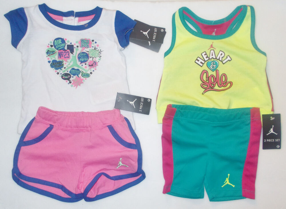 b789442c3c4f44 Details about Air Jordan Nike Infant Girls Outfits 2 To Choose From Sizes 6-9M  3T 4T NWT