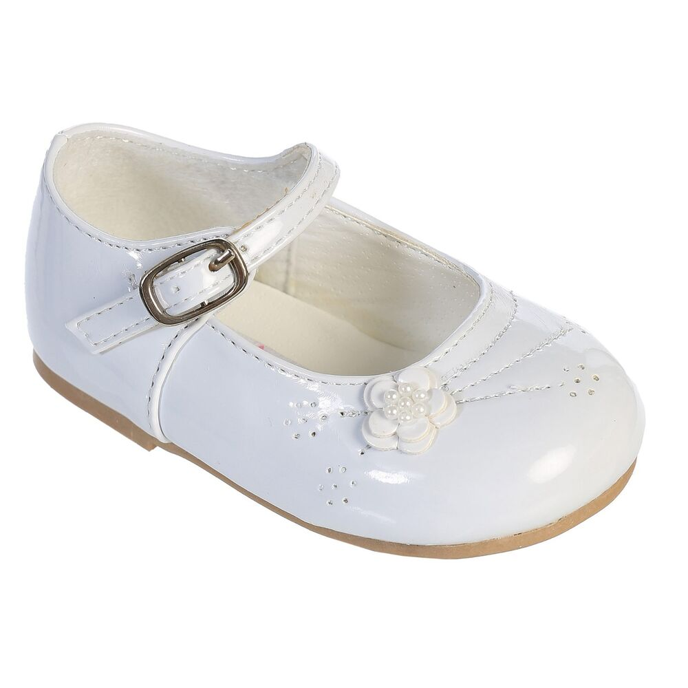 infant toddlers white ivory flower baby dress shoes