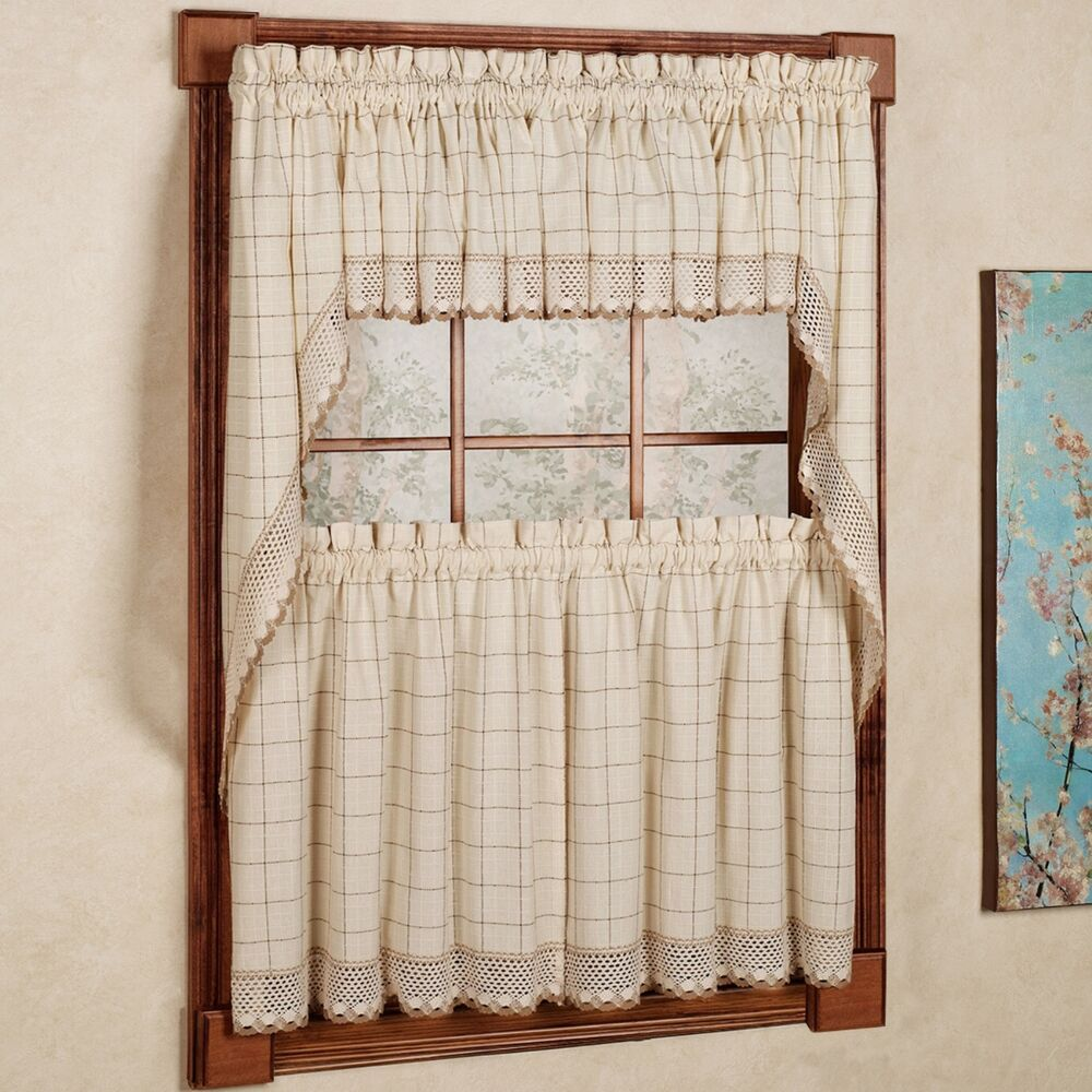 Adirondack cotton kitchen window curtains toast tiers for Kitchen window curtains