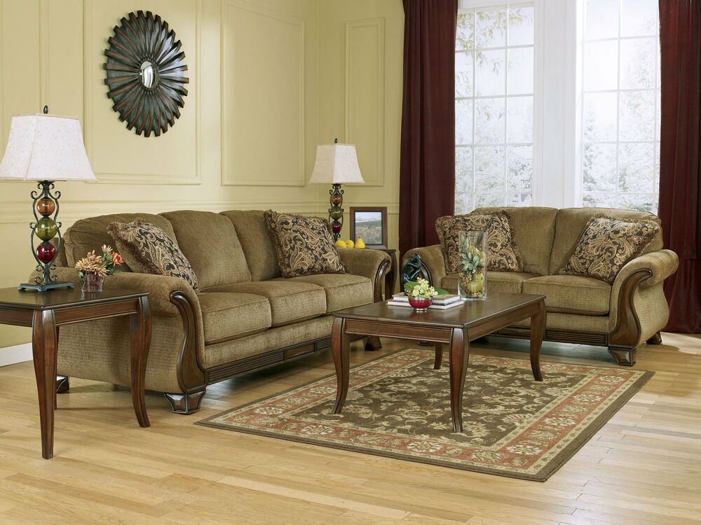 Santiago traditional brown fabric wood trim sofa couch set - Traditional sofa sets living room ...