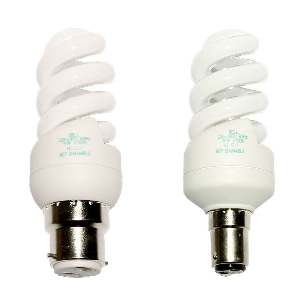 Bell Branded Energy Saving Cfl Spiral Light Bulb Bc Sbc 9w Compact Fluorescents Ebay