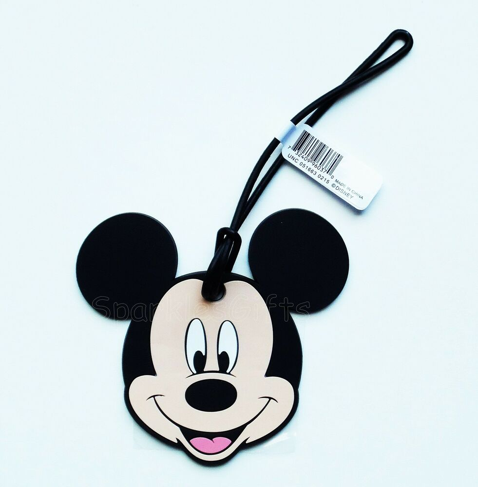 Disney Mickey Mouse Head Face Soft Touch Luggage Tag Ebay