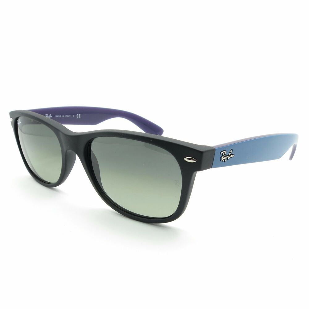 Ray Ban New Wayfarer 2132 6183/71 Matte Black Blue Grey Gradient New Authentic