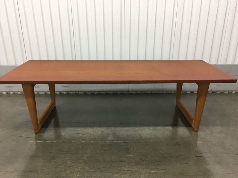 Sleek mid century modern danish teak coffee table ebay Sleek coffee table