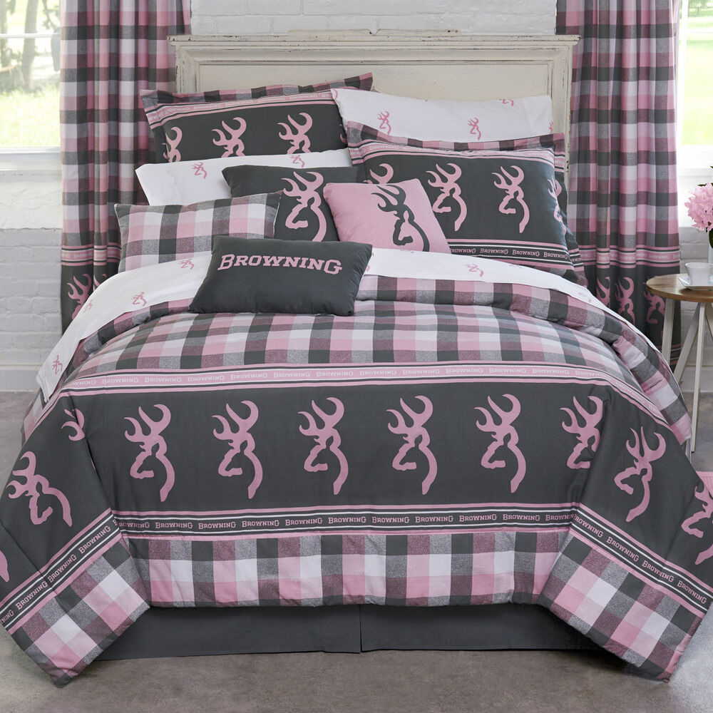 Browning Pink Plaid Comforter Set Bed In A Bag
