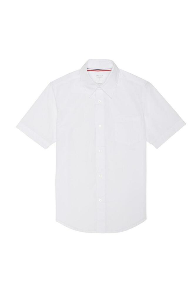 TODDLER WHITE BROADCLOTH DRESS SHIRT SHORT SLEEVE FRENCH
