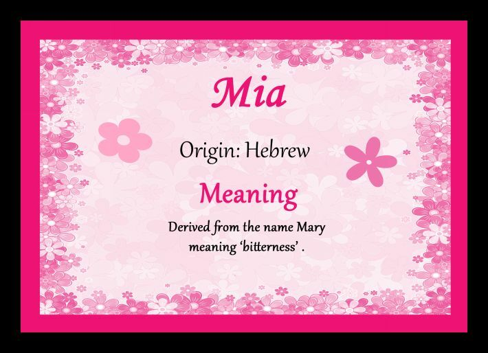 Mia Personalised Name Meaning Placemat   eBay