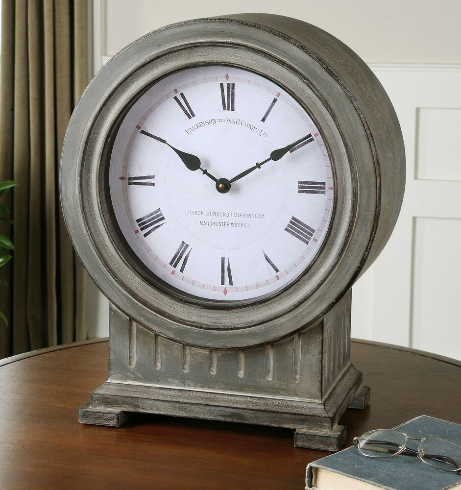 """Rustic Table Clock: 19"""" DUSTY GRAY FINISH WHITE FACE ROUND TABLE DESK CLOCK"""