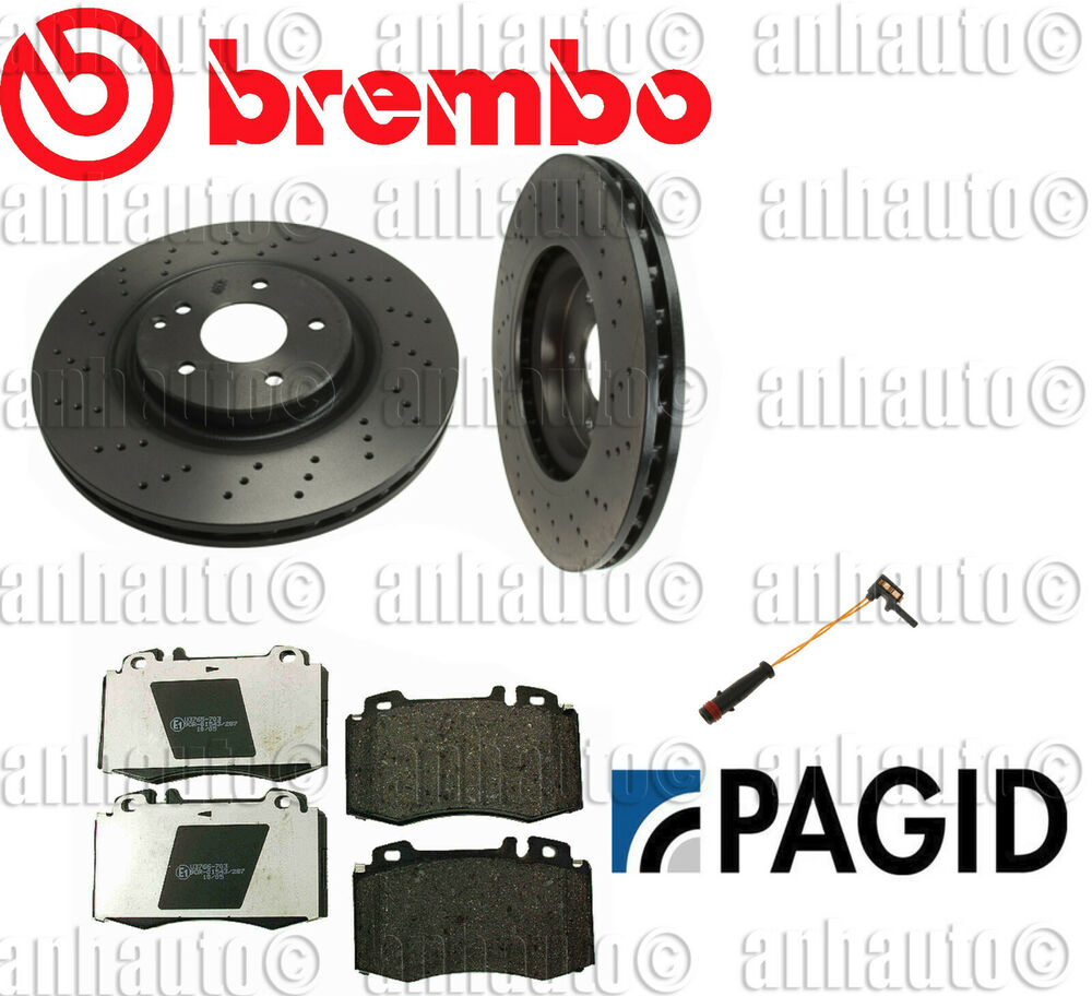mercedes benz w203 slk280 set of 2 front rotors pads sensor brake kit brembo ebay. Black Bedroom Furniture Sets. Home Design Ideas