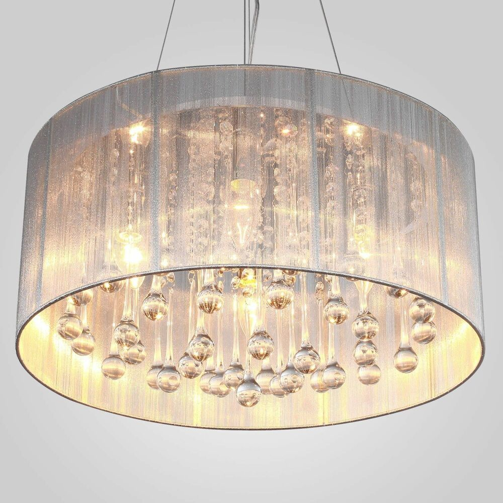 Summer White Drum Shade Crystal Ceiling Chandelier Pendant