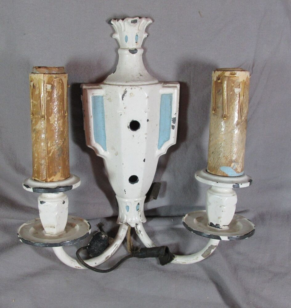 Art Deco Wax Candle Wall Sconces : 1930 s Art Deco Original Paint Urn Shaped Double Candle Wall Sconce eBay