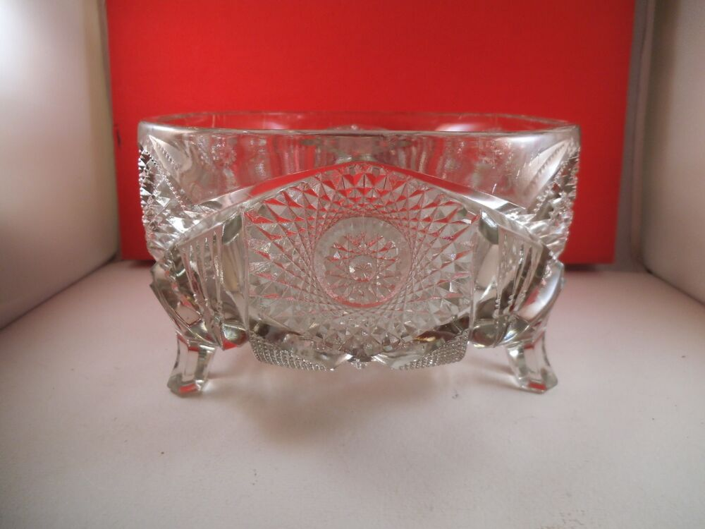 Vintage imperial clear glass nucut footed centerpiece bowl hobstar ebay - Footed bowl centerpiece ...