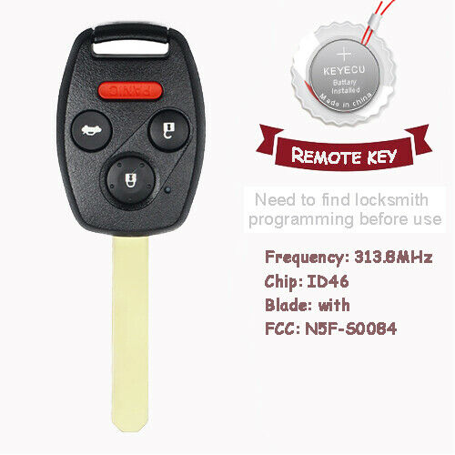 remote key fob 3 1 button 313 8mhz id46 chip keyless for. Black Bedroom Furniture Sets. Home Design Ideas