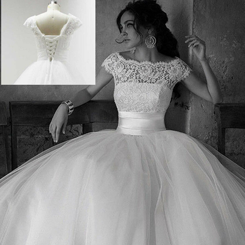 New White/Ivory Ball Gown Wedding Dresses Cap Sleeve Lace