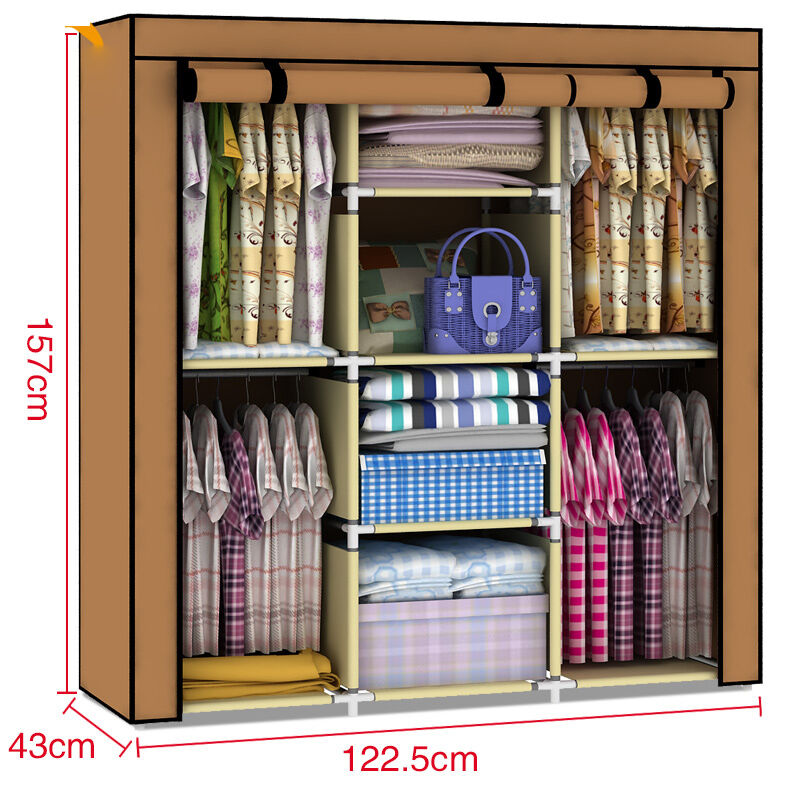 storage portable bedroom wardrobe rack shelves closet armoire ebay