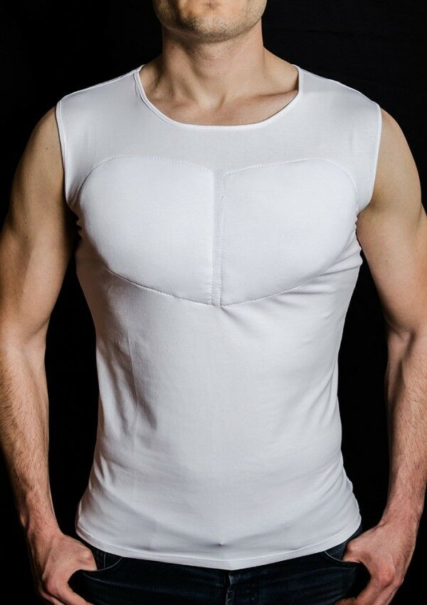 67f7839a SLEEVELESS PADDED UNDERSHIRT. T SHIRT WITH MUSCLES . FAKE MUSCLES T SHIRT.  | eBay