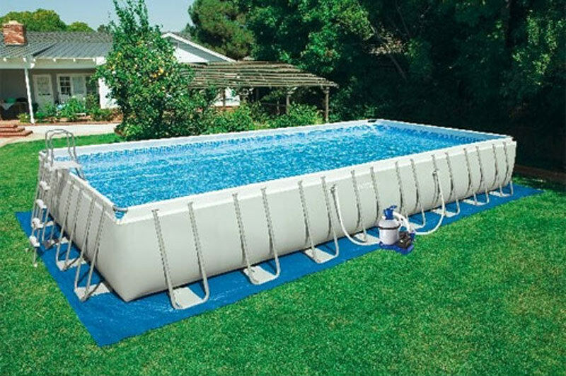 Intex 16 39 x32 39 x52 ultra frame rectangular aboveground swimming pool set 28375eh ebay for Intex rectangular swimming pool