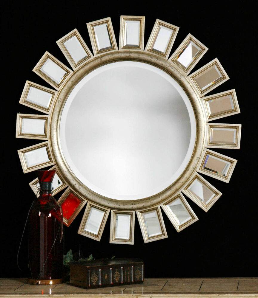 34 distressed silver wood sun style round wall mirror ebay for Ornamental mirrors