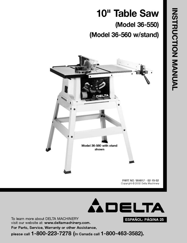 Delta 36 550 36 560 10 table saw instruction manual ebay for 10 sanding disc for table saw