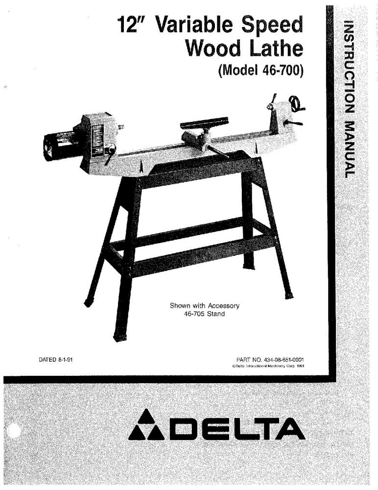 Delta 46 700 12 Quot Variable Speed Wood Lathe Instruction