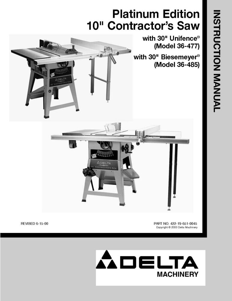Delta 36 477 36 485 Platinum Edition 10 Contractors Saw Instruction