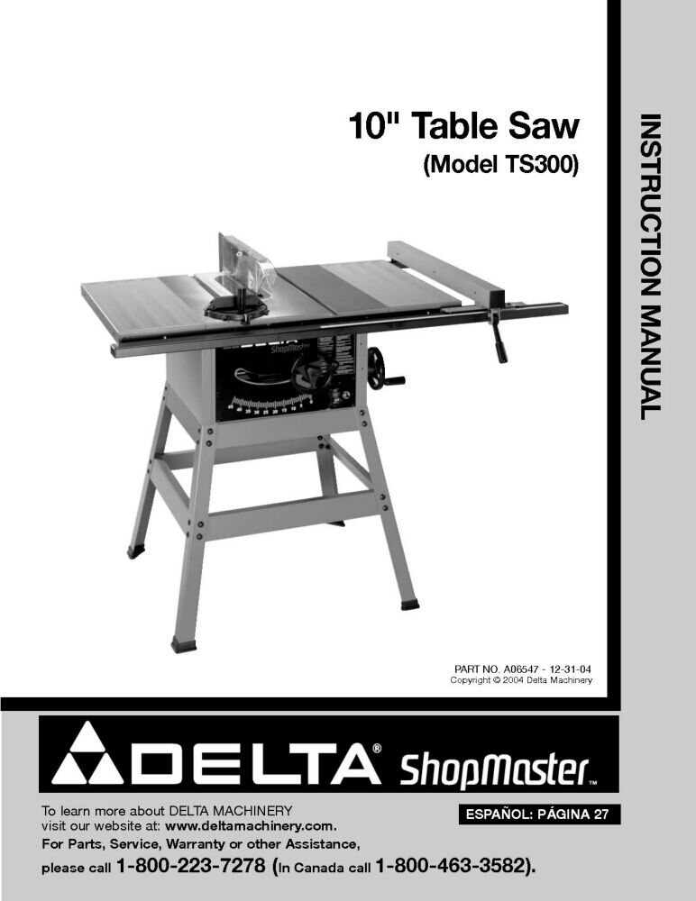 Delta ts300 10 table saw instruction manual ebay for 10 inch delta table saw