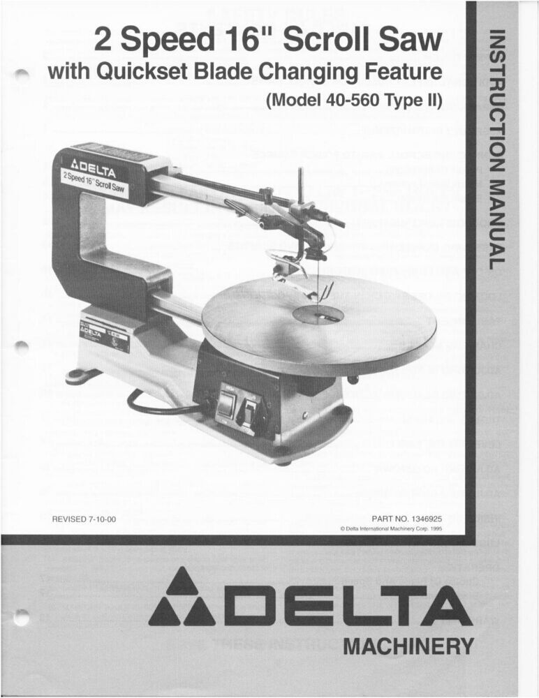 Delta 40 560 2 Speed 16 Quot Scroll Saw Instruction Manual Ebay