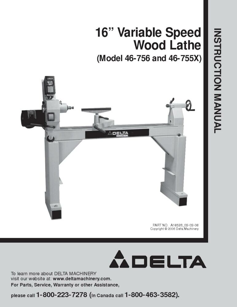 Delta 46 756 46 755x 16 Quot Variable Speed Wood Lathe