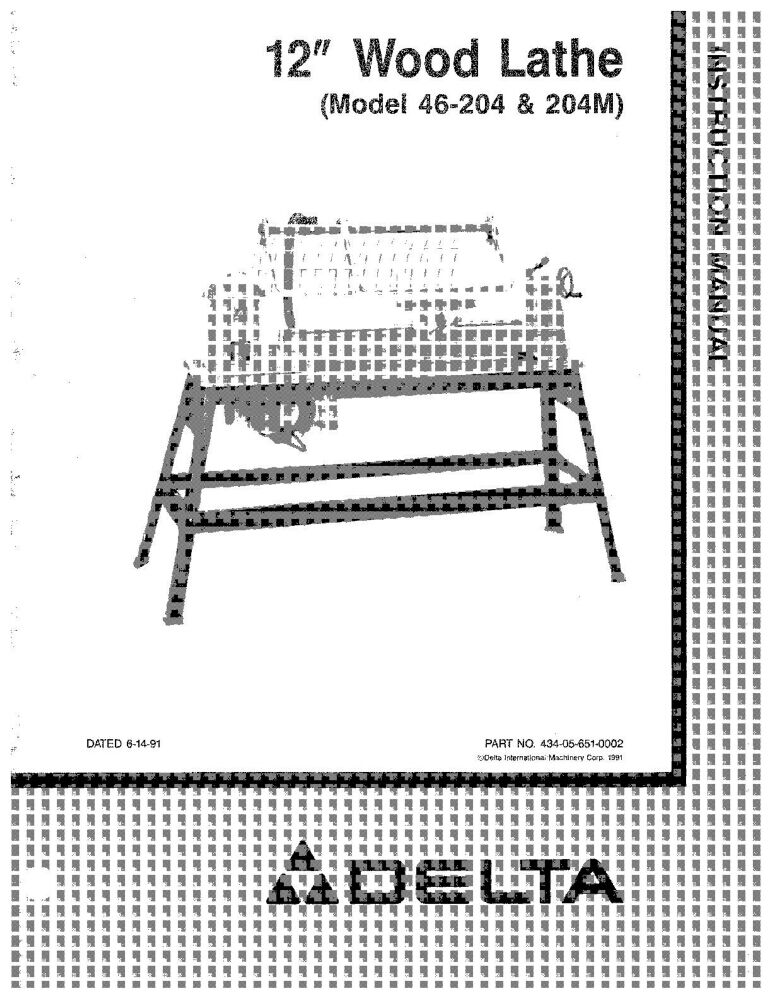 Delta 46 204 204m 12 Quot Wood Lathe Instruction Manual Ebay