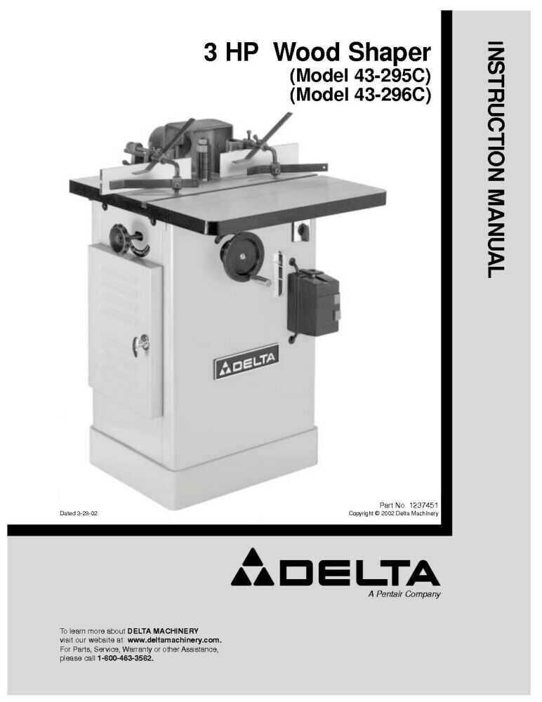 Delta 43-295C 43-296C 3HP Wood Shaper Instruction Manual ...