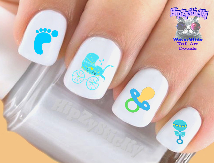 Nail Art #502 Baby Boy Blue Rattle Baby Feet WaterSlide Nail Decals ...