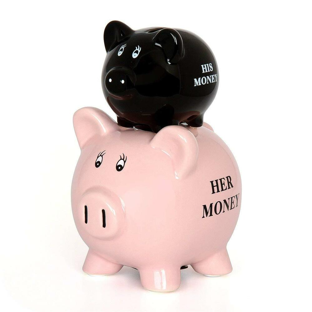 HIS & HERS Piggy Bank Coin Jar Money Box Cash Coin Bank