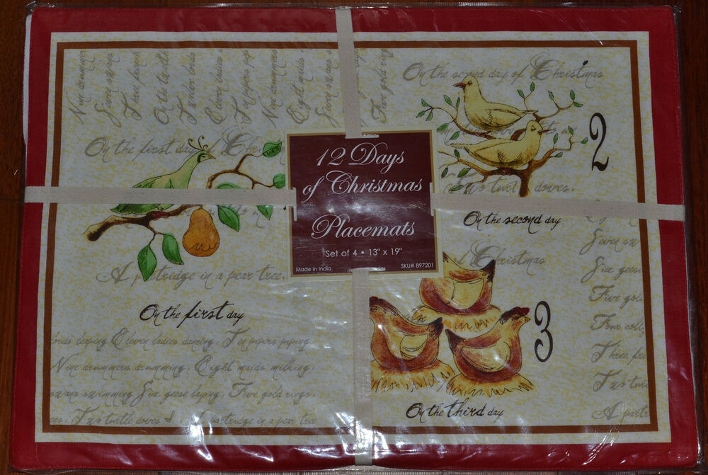12 days of christmas cotton fabric placemats set of 4 for 12 days of christmas table cloth