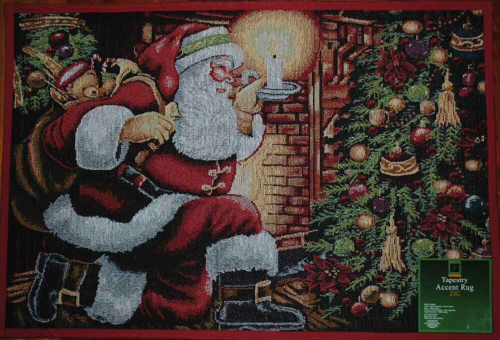 Santa Claus Rug Christmas Tree Toys Holiday Mat Fireplace