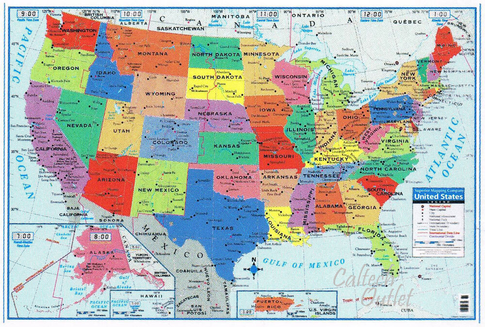 """Details about  USA United States Map Poster Size Wall Decoration Large Map of The USA 40"""" x 28"""""""