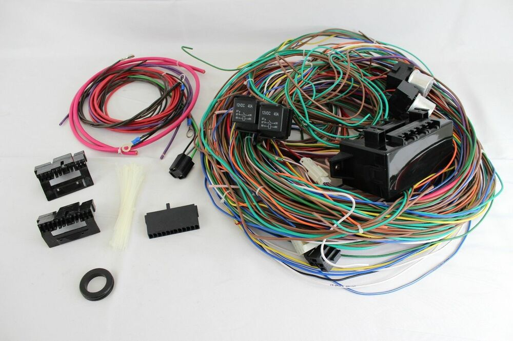12v 24 circuit 15 fuse street hot rat rod wiring harness. Black Bedroom Furniture Sets. Home Design Ideas