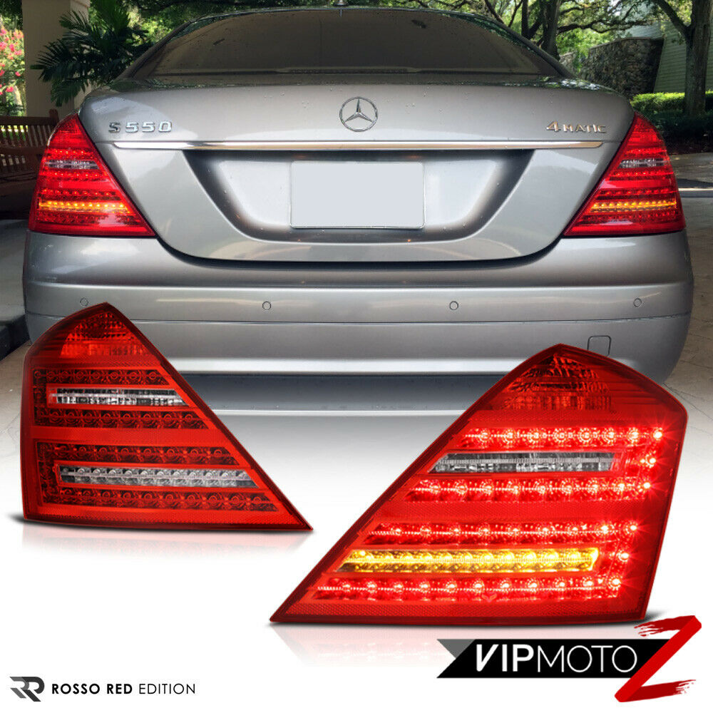 Facelift style 2007 2009 mercedes benz w221 s class red led tail lights assembly ebay