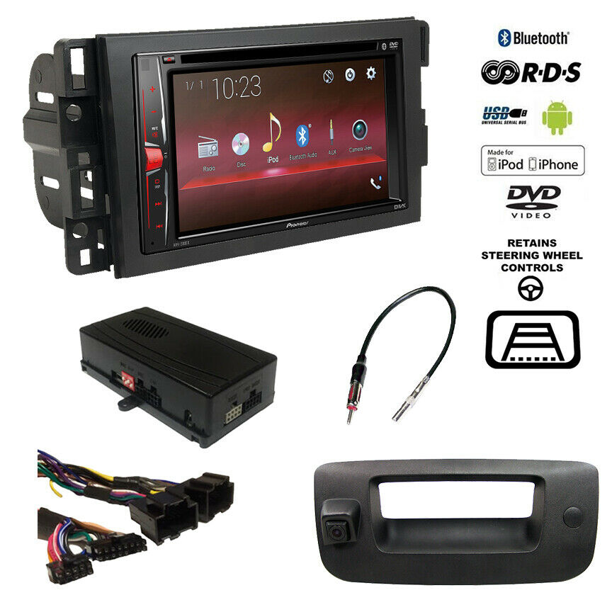 pioneer double din bluetooth usb stereo backup camera chevy truck radio dash kit ebay. Black Bedroom Furniture Sets. Home Design Ideas