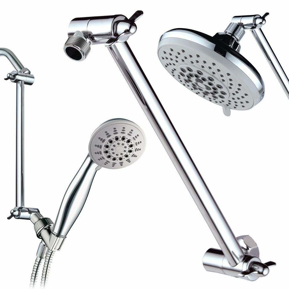 Inch Brass Chrome Shower Head Adjustable Height Arm Mount - Rain shower head with extension arm