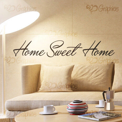 Home sweet home living room wall art quote sticker vinyl for Living room quote stickers