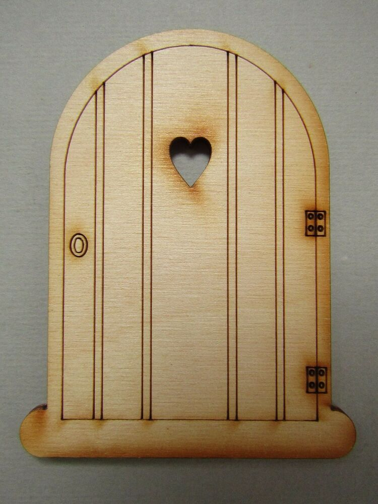1 x single heart type 2 laser cut unpainted fairy pixie for Unfinished fairy door