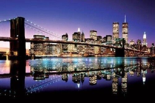 brooklyn bridge skyline color art poster print new york city at night nyc ebay. Black Bedroom Furniture Sets. Home Design Ideas