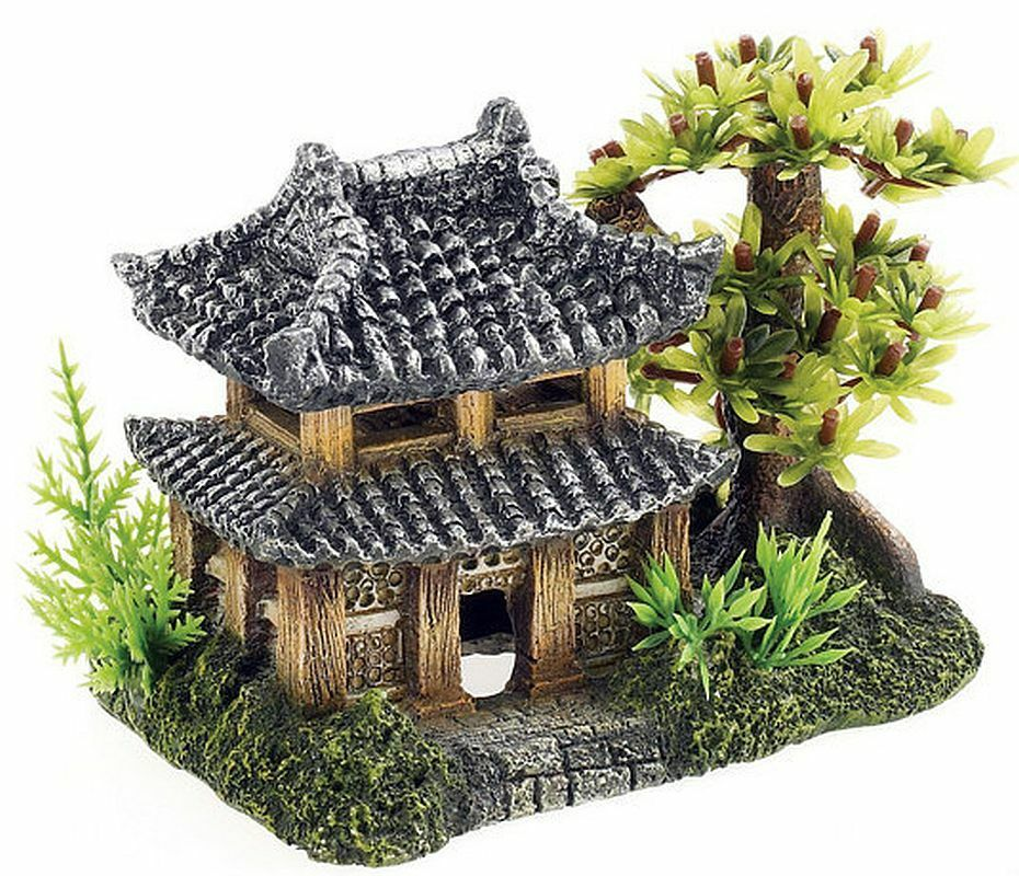 Chinese japanese oriental pagoda with tree plants for Asiatique decoration