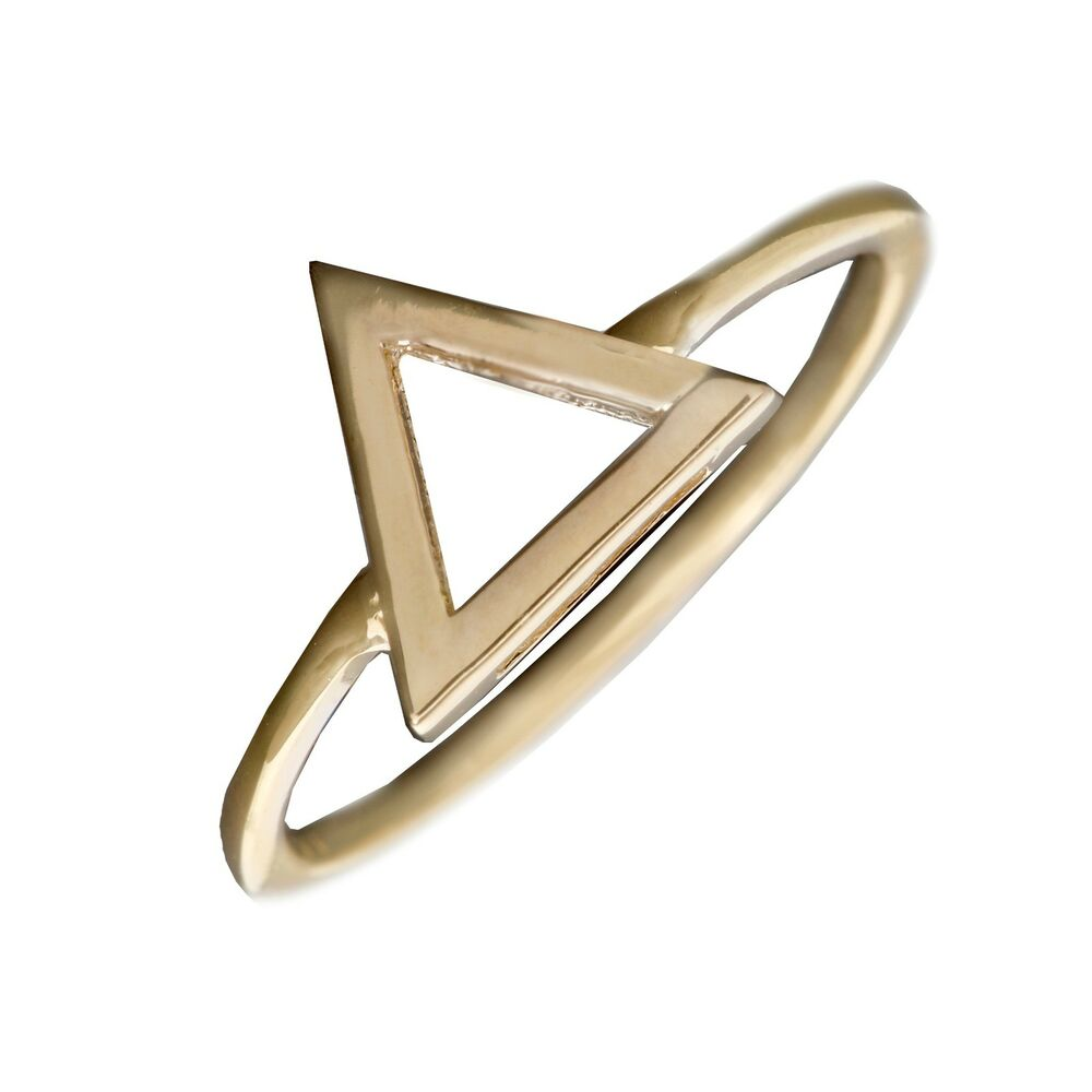 geometric triangle ring in solid 14k yellow gold midi band