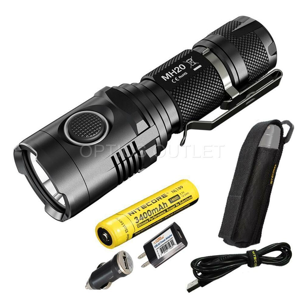 nitecore mh20 1000 lumen smallest usb rechargeable led light 3400mah 18650 batt ebay. Black Bedroom Furniture Sets. Home Design Ideas