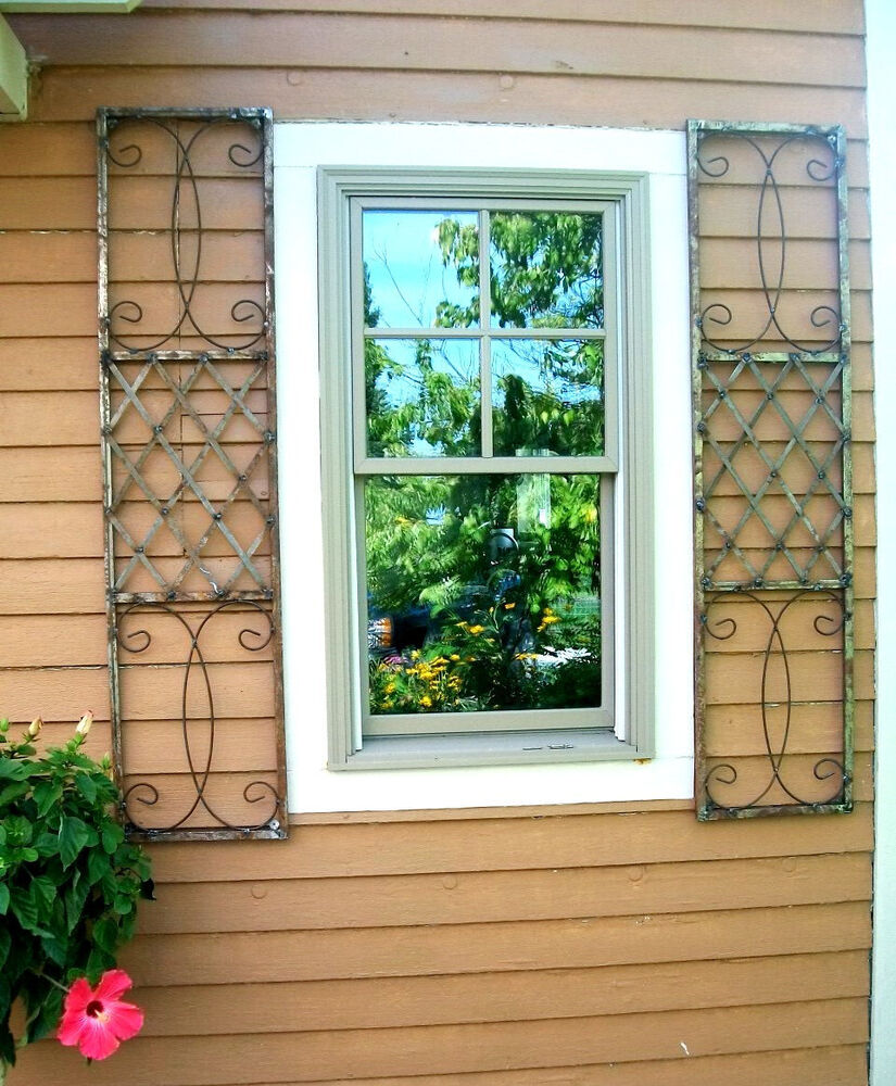 Wrought Iron Exterior Window Shutters Metal Wall Art Ebay