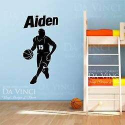 Basketball Player Dribbling Decal Custom Name Wall Personalized Vinyl Sticker