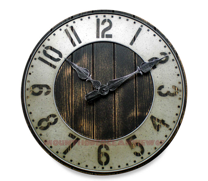 Wall Clock Industrial Rustic Punched Metal Wood Old Fashion Farmhouse H